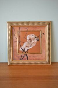 Vintage-flower-orchid-print-1990s-gold-frame-Asian-Oriental