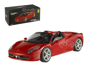 FERRARI 458 ITALIA SPIDER RED ELITE EDITION 1/43 MODEL CAR BY HOTWHEELS W1182