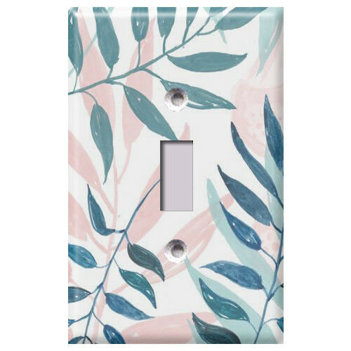 Light Switch Covers Home Decor Outlet Pink and Blue Palm Leaves