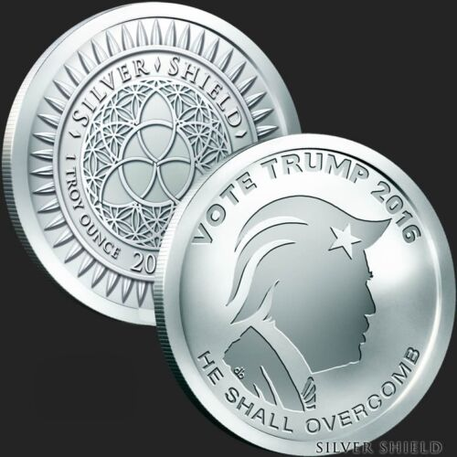2017 Silver Shield Vote Trump 1 oz .999 Silver Bu Incused Round USA Bullion Coin