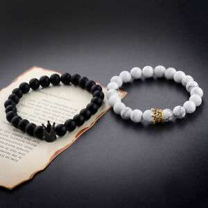a0ff59419b 2Pcs King Queen Crown Couple Bracelets His And Her Friendship 8mm ...