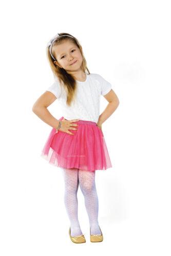 "Girls White Tights By Sentelegri /""TOLA/"" 40 Denier Diamond  Pattern Age 3-11"