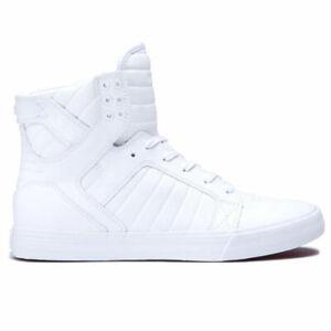 Supra-Men-039-s-Skytop-Hi-Top-Sneaker-Shoes-White-White-Footwear-Skateboarding-Skate