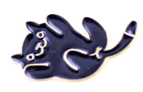 Super Lindo broche dorado esmalte negro Cat//Pin