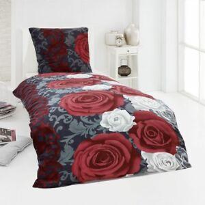 microfaser fleece winter bettw sche kuschel weich 135x200 kissenbezug flower ebay. Black Bedroom Furniture Sets. Home Design Ideas