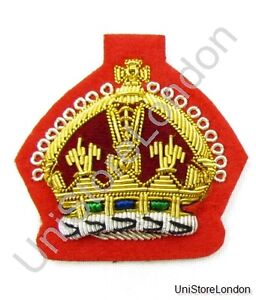 Badge King's Crown Gold on Red  R891