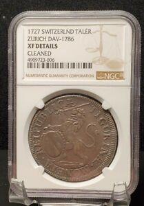 1727-SWITZERLAND-ZURICH-THALER-Dav-1786-NGC-XF