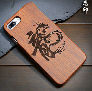 Details About Chinese Dragon 100 Natural Sculpture Wooden Wood Back Carving Case For Phone