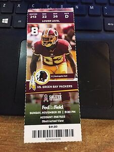 53e907d5 Details about 2016 WASHINGTON REDSKINS VS GREEN BAY PACKERS TICKET STUB  11/20 DEANGELO HALL