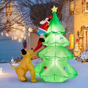 Chase Christmas Eve Hours.Details About 1 8m Inflatable Led Dog Chase Santa To Christmas Tree Outdoor Indoor Decoration