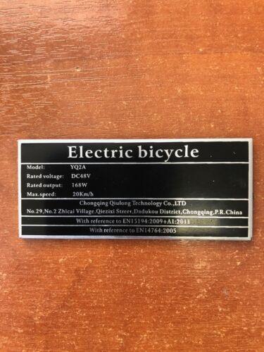 Sur-ron Surron E Bike EAPC chassis label  EN 15194:2009+A1:2011 certification