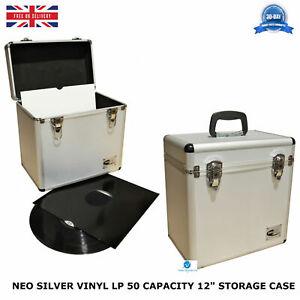 1-X-NEO-Aluminium-Silver-DJ-Flight-Case-to-Store-50-Vinyl-LP-12-034-Records-STRONG