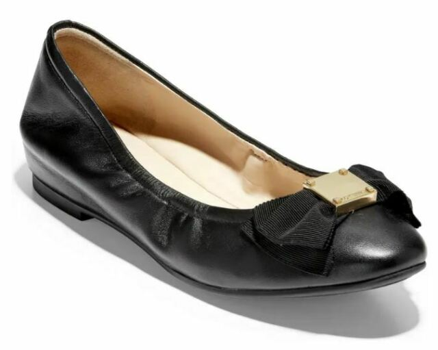 Cole Haan Women 8 Tali Black Leather Ballet Flats Slip-ons Ballerina BOW NEW