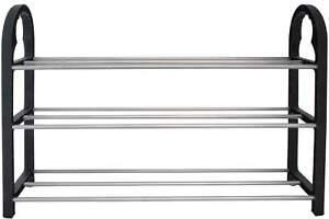 Schuhregal-HOMELINE-mit-3-Boden-fur-9-Paar-Schuhe-Regal-Aufbewahrung-Metallstabe