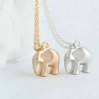Silver Gold Plated Elephant Necklace Small Animal Pendant Chain in Gift Bag/Box