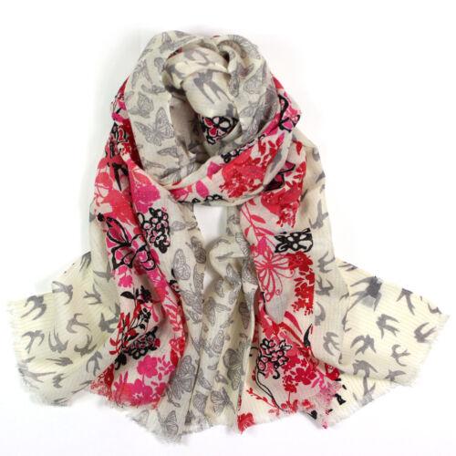 100/% Pure Wool Woman/'s Pashmina Scarf Soft Wrap Stole Light Grey Butterflies