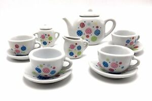 Tea-Set-Porcelain-Polka-Dot-13pc-Child-Party-Playset-Cooking-For-Kids-New-Age-8
