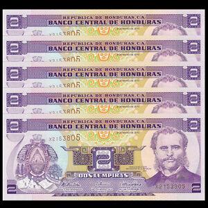 1+2+5+10+20 lempiras Pick 86-98 UNC random years Honduras set 5 pcs