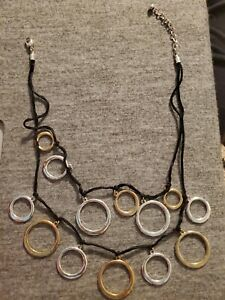 Black-Two-Layers-Statement-Necklace-With-Silver-And-Gold-Tone-Rings
