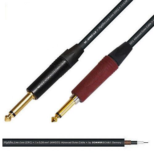 Jack to Silent Jack Guitar Lead Sommer Spirit LLX Cable & Neutrik Gold Plugs