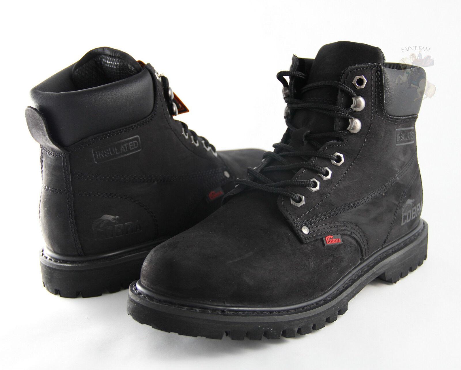 Men Work Boot Cobra Steel Toe C11S Black Genuine Leather Welt Construction New