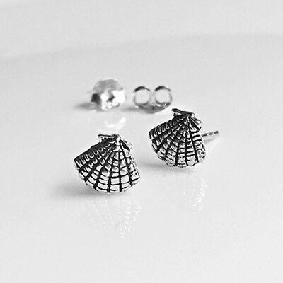 ocean earrings A pair of small sea shell oxidized sterling silver stud earrings