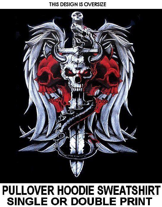 DRAGON WINGS SWORD SKULL HORNS GOTH BIKER EVIL MEDIEVAL HOODIE SWEATSHIRT X82