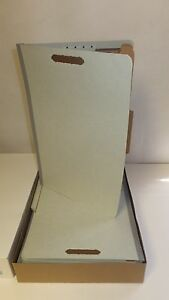 Box of 15 Partition Folders, Light Grey, Legal Size, 6 Fasteners, Top Tab 761902