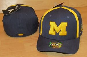 d5d3fbba5e6 Air Jordan Michigan Wolverines Flex Fitted Aero Bill Hat Cap Men's M ...