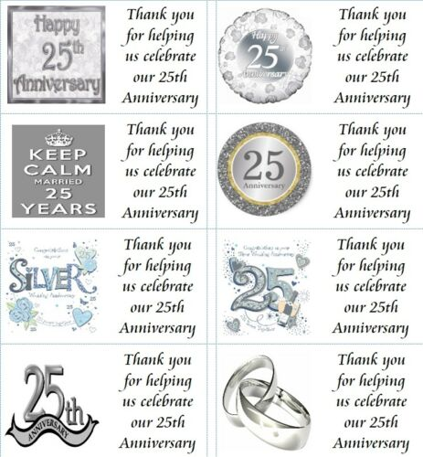 40 x Personalised 25th Wedding Anniversary labels//stickers//party//cake//sweet//bag