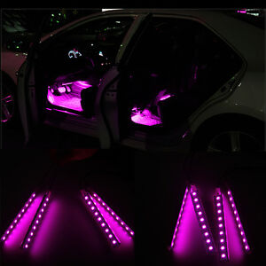 pink car decorative lights charge led interior floor decoration lamp 12v on off ebay