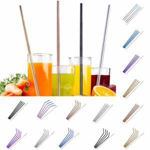 8x Stainless Steel Metal Drinking Straw Straws Bent Washable Reusable+2x Brushes
