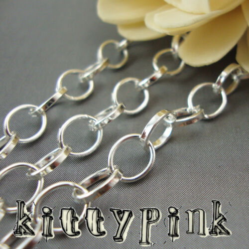 2 Metre Silver Plated 8x6mm Belcher Rolo Necklace Chain