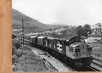 """West Highland line 37.011 COCO shunting freight at Mallaig junction 10""""x8"""" photo"""