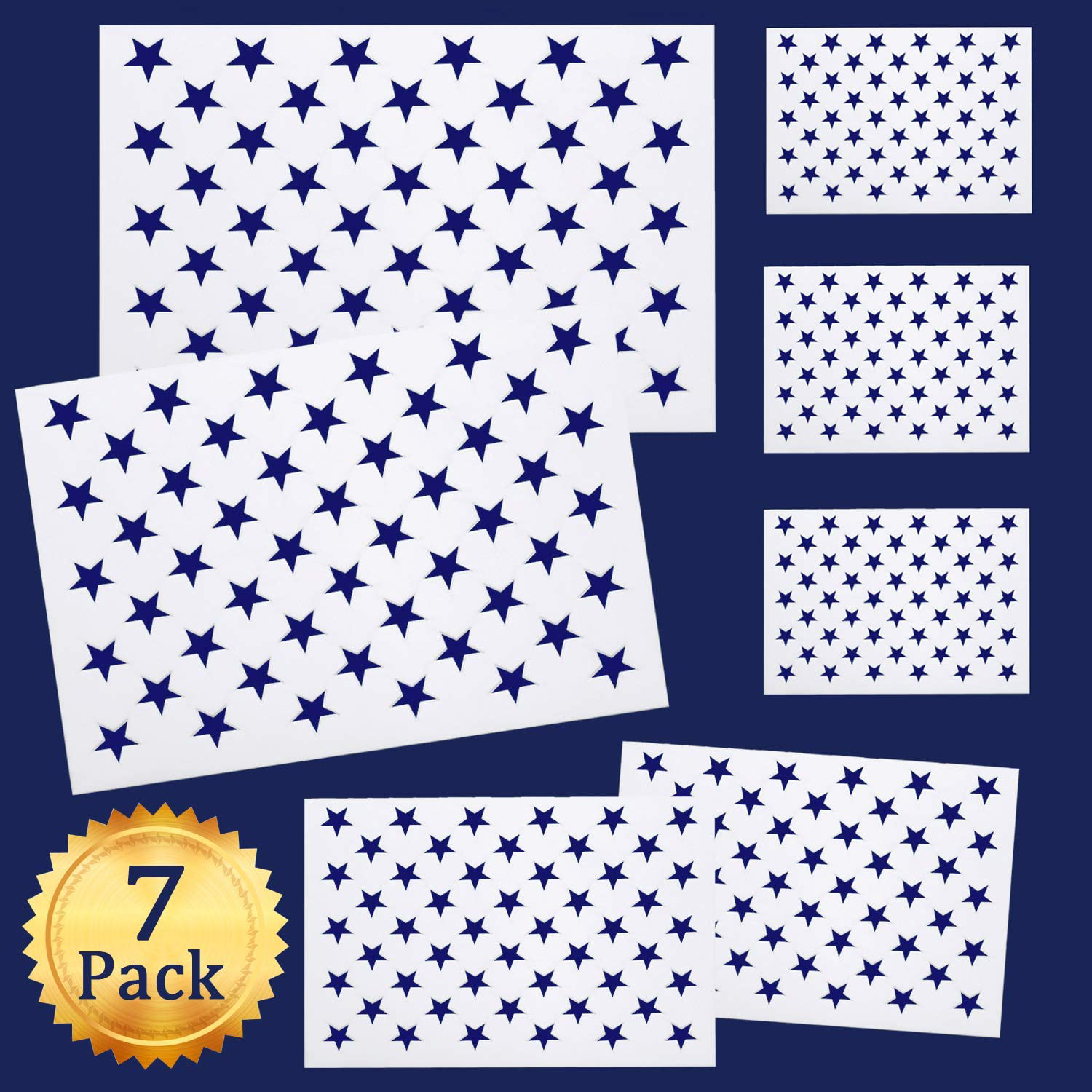 7 Pcs American Flag 50 Stars Stencil Template for Painting on Wood Fabric Paper