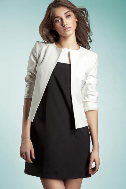 8fb12783de99 Veste blanche ouverte femme de tailleur blazer chic Z02 Nife 36 38 40 42 44