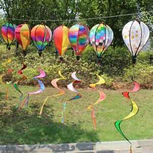 Yard-Decor-Hot-Air-Balloon-Wind-Spinner-Rainbow-Sequins-Windsock-Striped-Outdoor