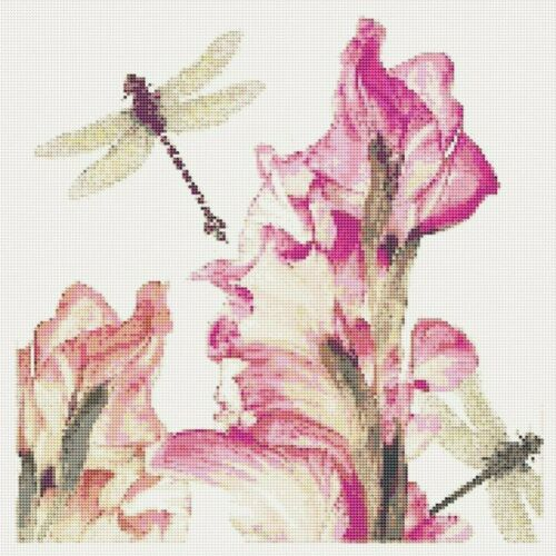 5D Round Drill Embroidery Painting Dragonfly   Flower Stitch Kits Hobby   Beauty