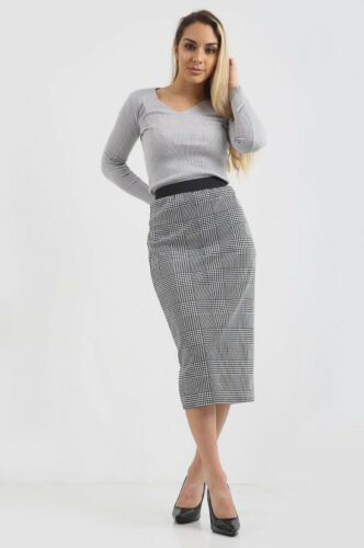 Mesdames Femmes Chien Dent De Chien Carreaux Mini Midi Jupe Pantalon Duster Manteau Nouveau UK