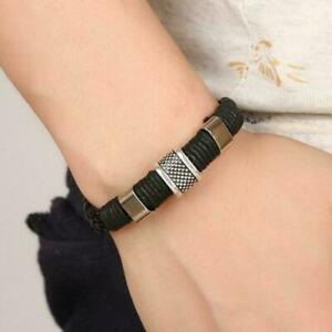 Mens-Braided-Real-Leather-Wristband-Bracelet-Stainless-Titanium-Steel-Top-C-N8X7