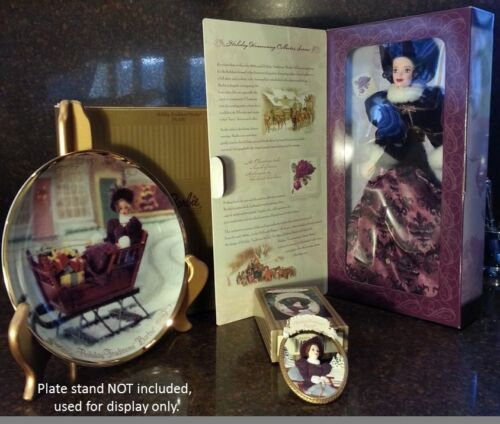 1997 Mattel Holiday Traditions Barbie Doll, plus Hallmark Ornament & Plate NIB