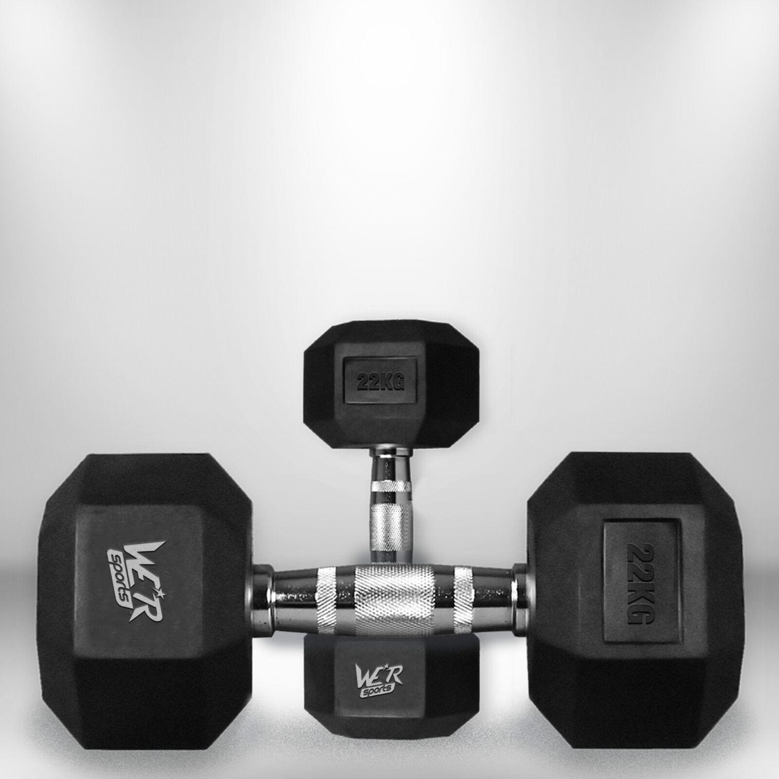 22kg Hex Dumbbell Set Rubber Encased Ergo Weights Hexagonal Dumbbell Gym Weight