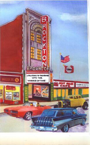 Vintage Brockton MA Movie Theatre Art Print GTO Chevy Nomad 32 Ford Hot Rod Gift