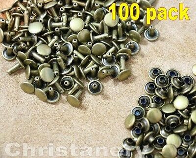 100 Pack Leathercraft Rivets Double Cap rivets Leather Nailhead Nail 6*5mm