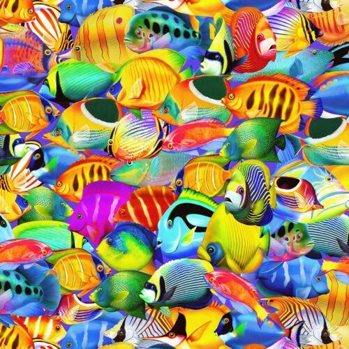 Bright Tropical Fish C6148 Electric Nautical Fabric Timeless Treasures YARD