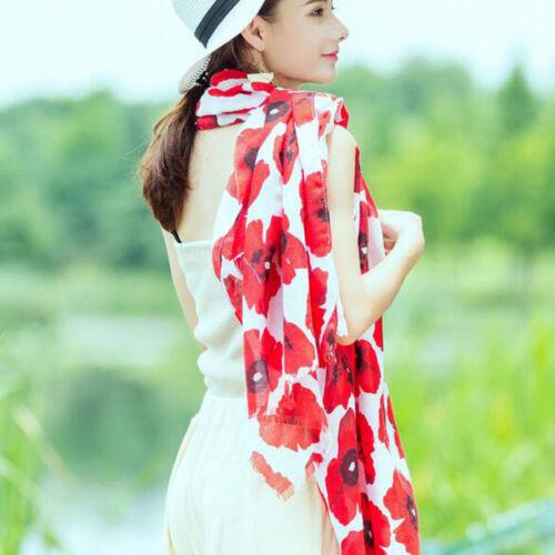 Hot Red Poppy Print Long Scarf Fleur Beach Wrap Ladies Stole Châle