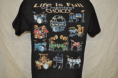NWT Life is Full of Important Choices T Shirt Drummer Gifts Drum Rock and Roll