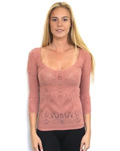 New Free People Womens Seamless Long Sleeve Semi Sheer Top Brown Xs//S $48