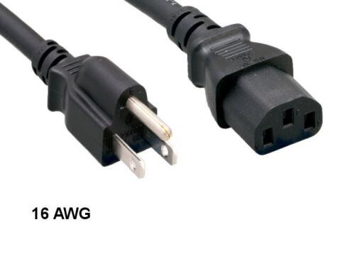 Kentek 15 Ft SJT US AC Power Cord NEMA5-15P//IEC320 C13 16AWG 13A 125V Heavy-Duty