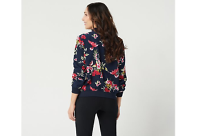 Susan Graver Printed Peachskin Zip-Front Bomber Jacket,Navy Red, Size X-Large